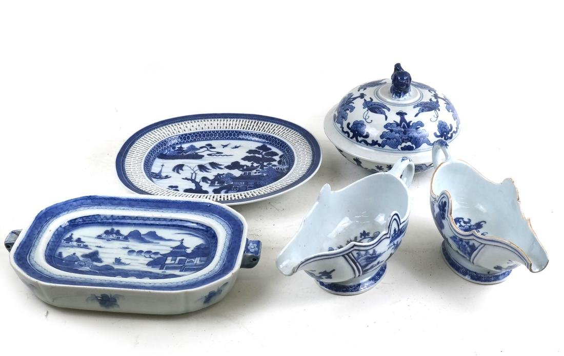 5 Chinese Blue & White Porcelain Various Serving Items