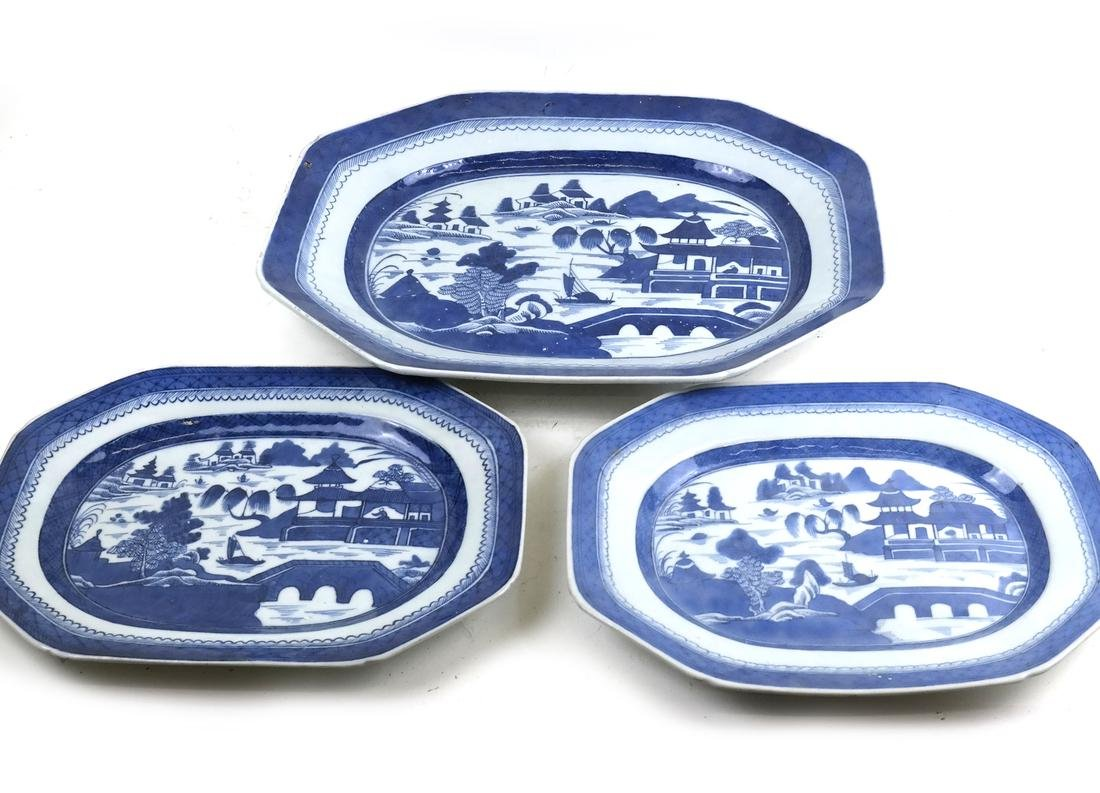 3 Chinese Blue/ White Canton Porcelain Various Platters