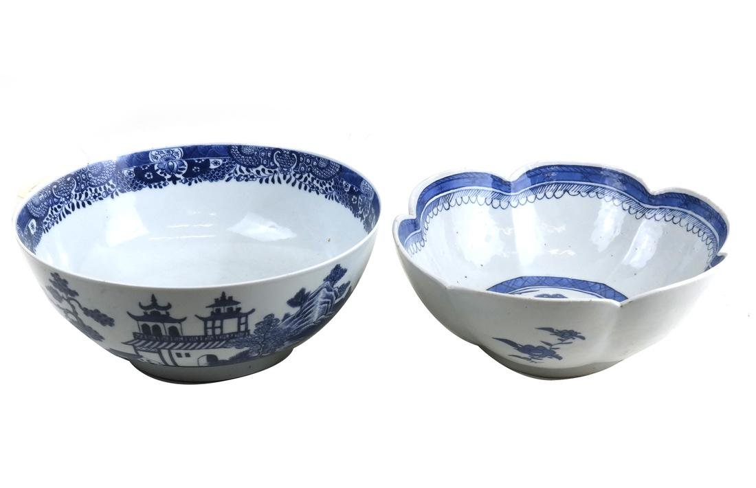 2 Chinese Export Blue & White Porcelain Punch Bowls