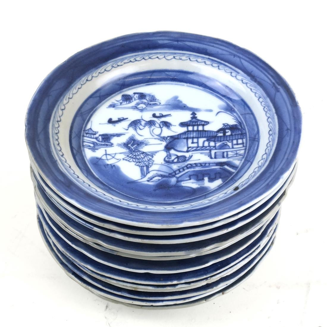 Set 12 Chinese Export Blue/White Porcelain Small Dishes