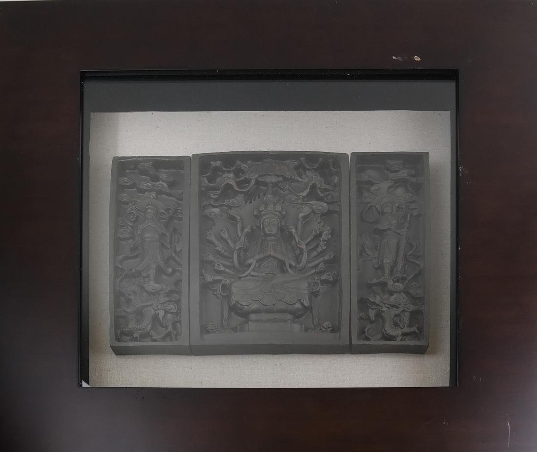 Framed Chinese Triple Relief