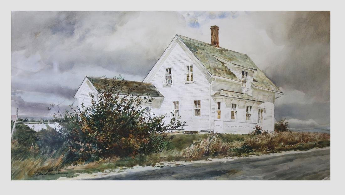 David Armstrong, Framed Gouache White Cottage