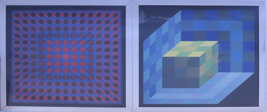 Two Framed Geometric Pictures, After Vasarely