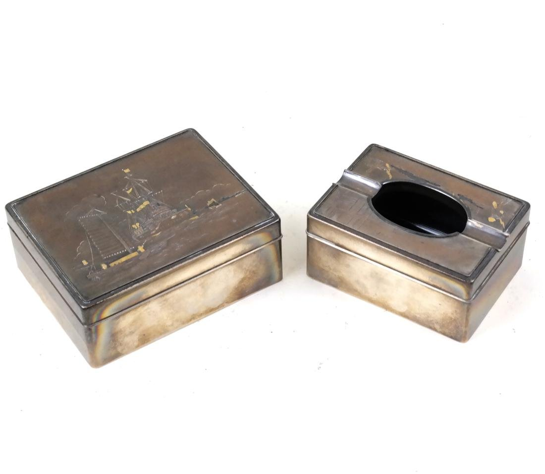 2 Japanese Mixed Metal Gold and Silver Boxes
