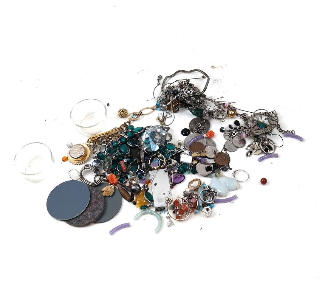 Assorted Mixed Stones, Jewelry, Coins, Etc...