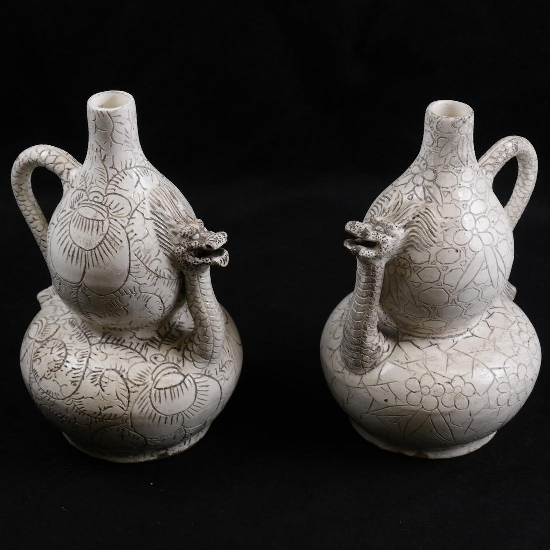 Pair Chinese Glazed Ceramic Double Gourd-Form Ewers