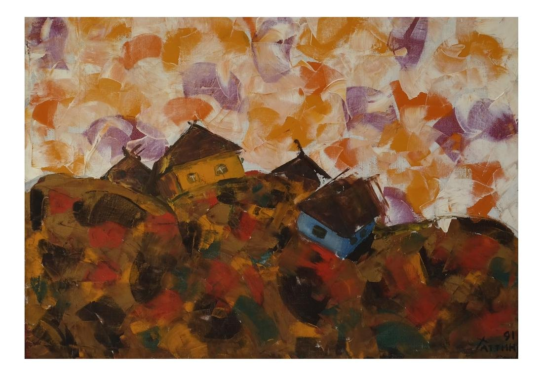 Contemporary Russian Abstract Village Scene