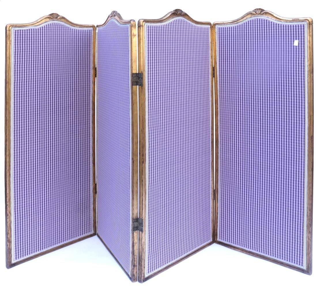 Four Panel Upholstered Floor Screen