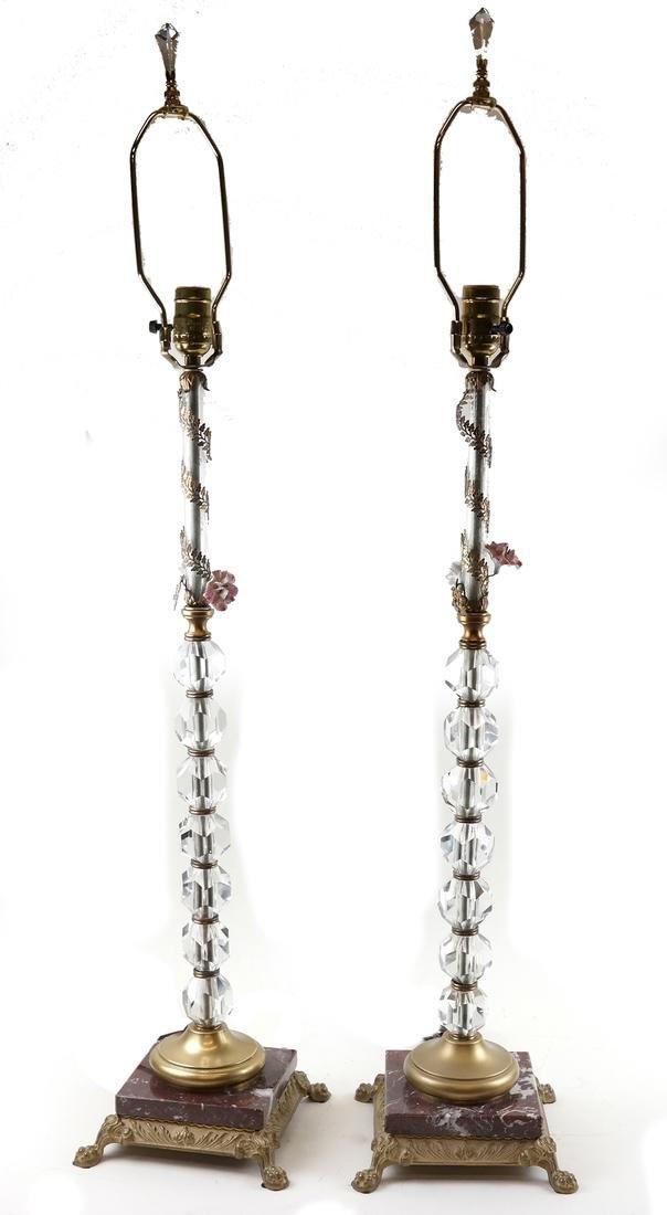 Pair of Crystal Column Lamps