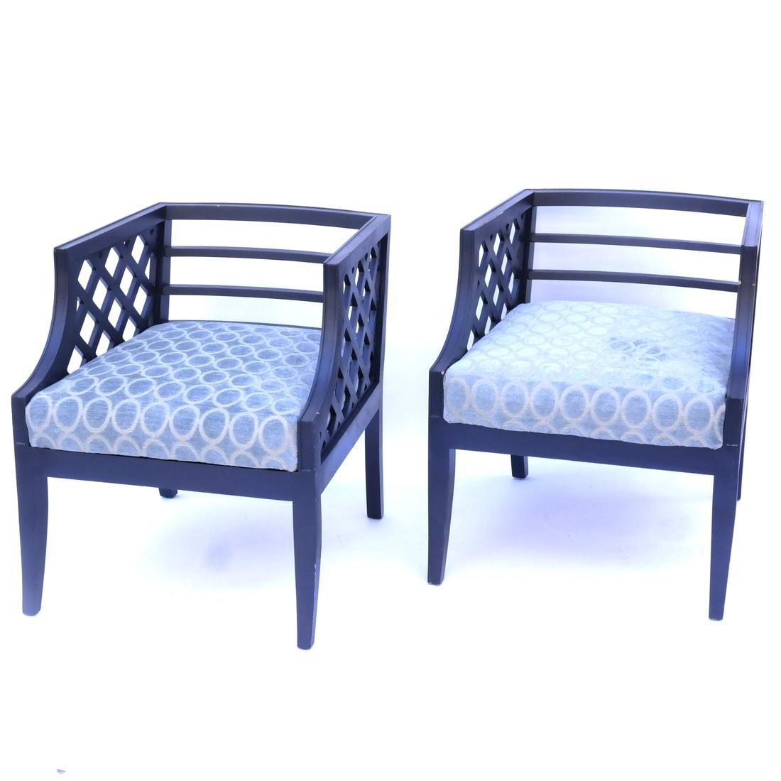Pair of Lattice-Form Chairs