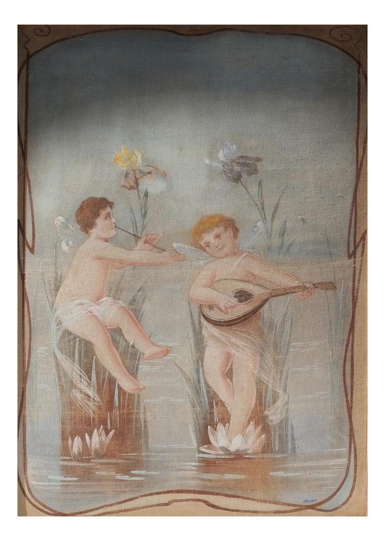 Two Cherubs, Gouache on Canvas Board