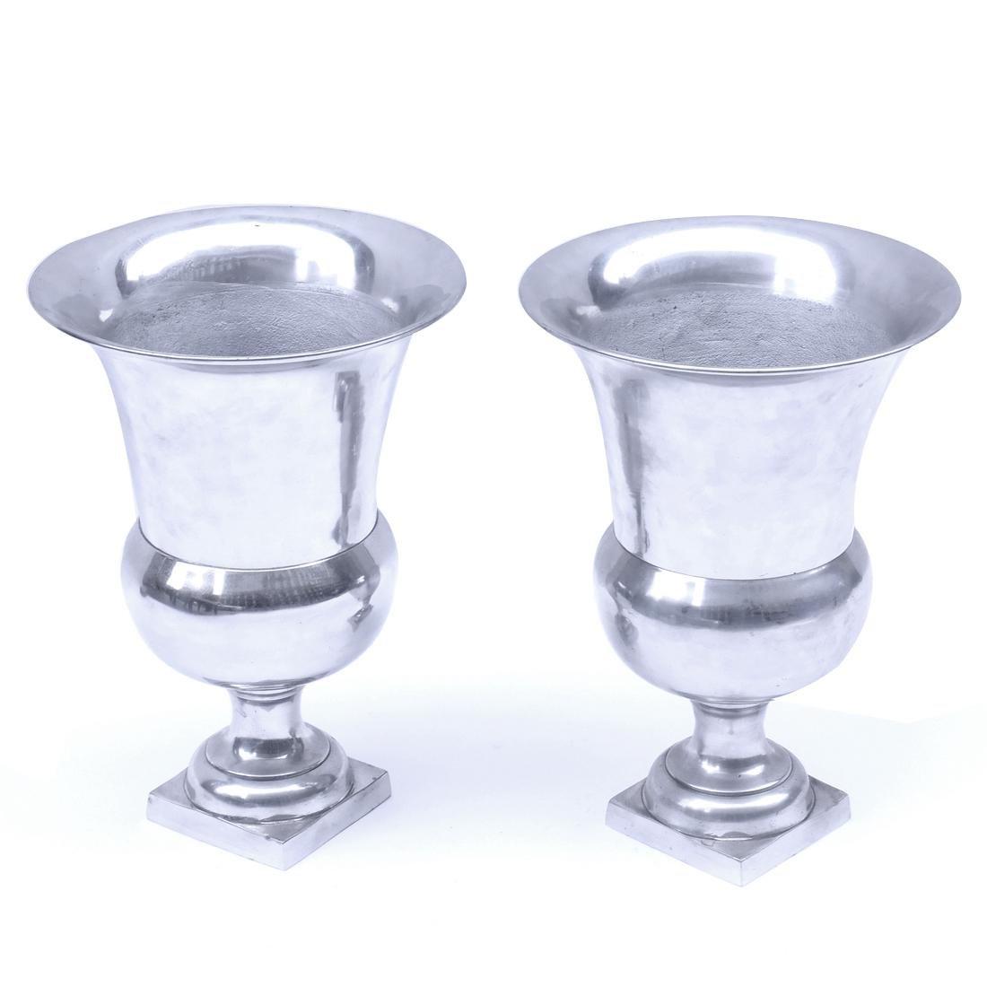 Pair of Aluminum Urns