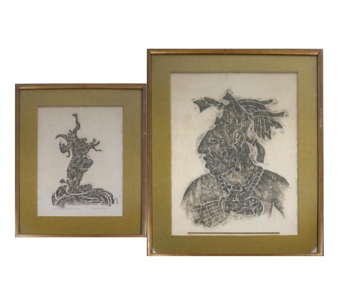 Two Framed Mayan Rubbings
