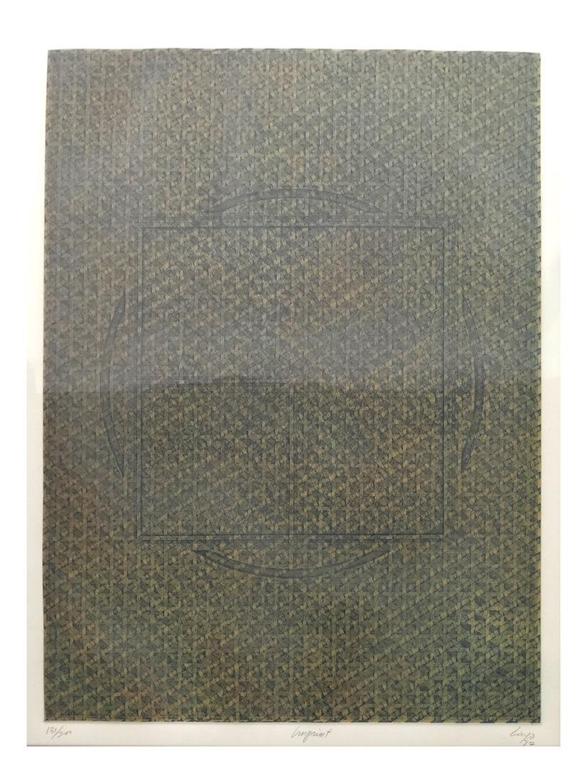 "Vincent Longo, Abstract Lithograph ""Imprint"" #131/200"