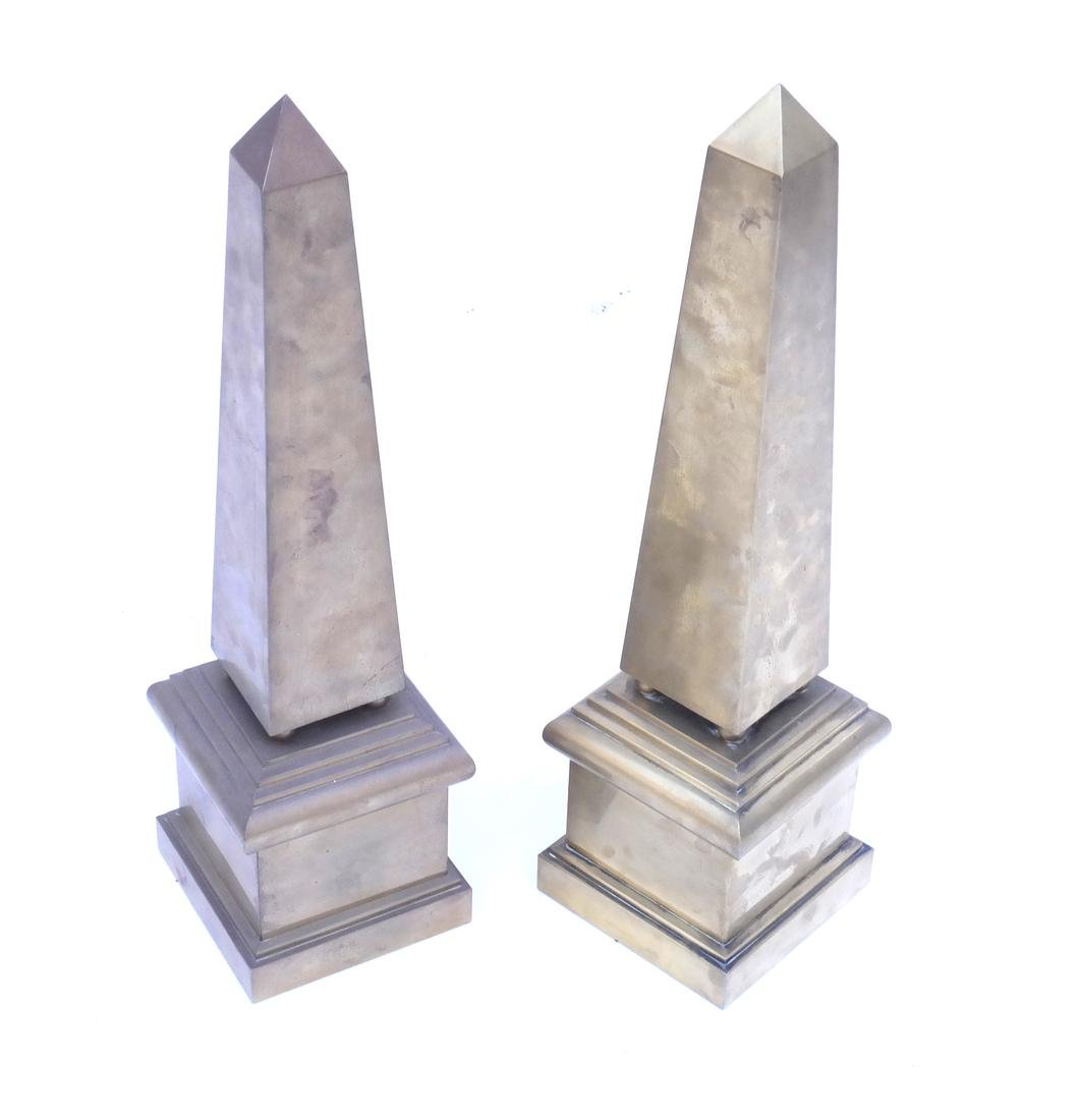 Pair of Brass Patinated Copper Obelisks