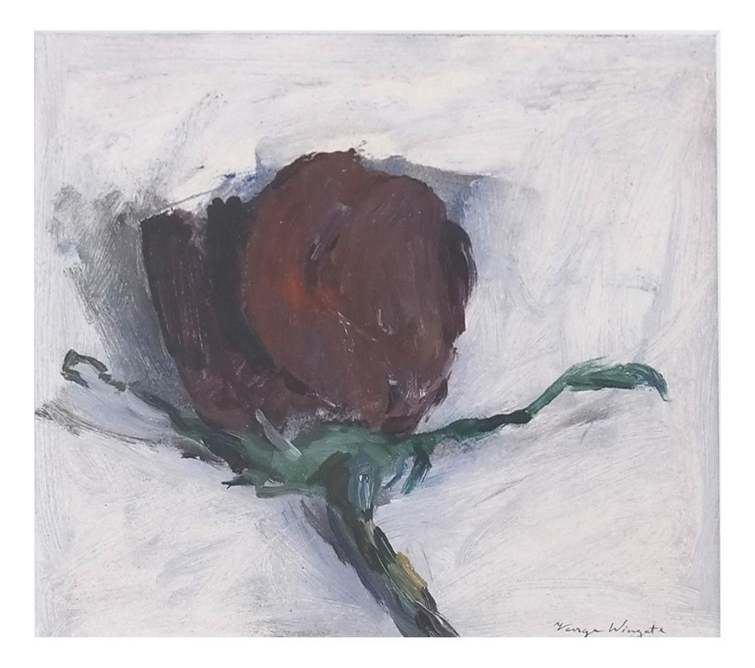 George Wingate, Framed Oil on Panel, Red Rose