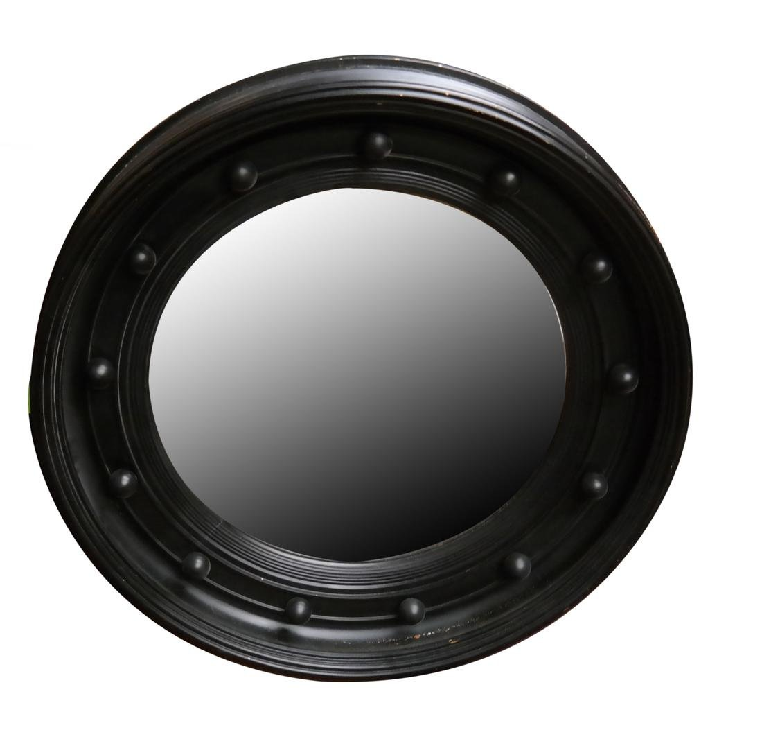 Black-Framed Beveled Glass Round Mirror