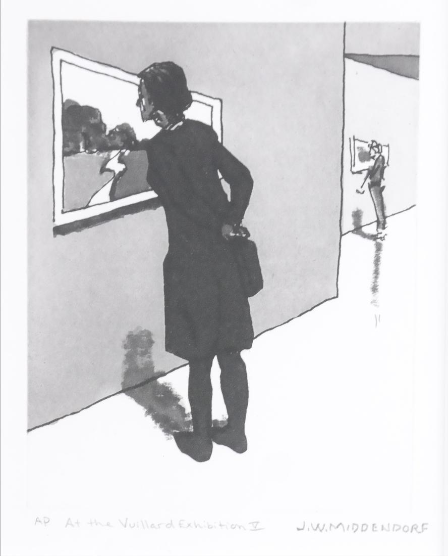 "J W Middnedorf, ""At the Vuillard Exhibition V,"" Etching"