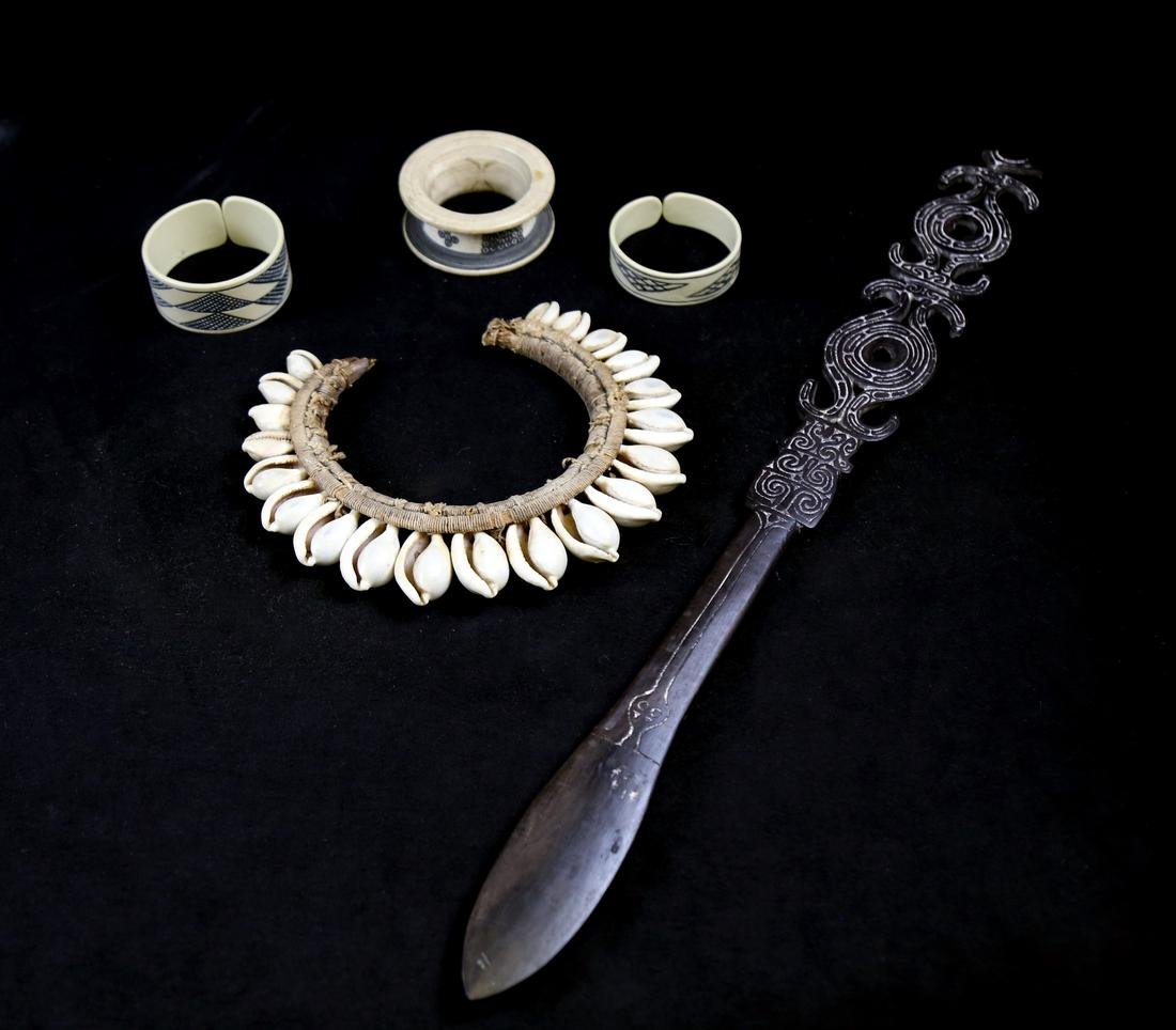 Five African Artifacts (Neck Ornament & Wood Sword)