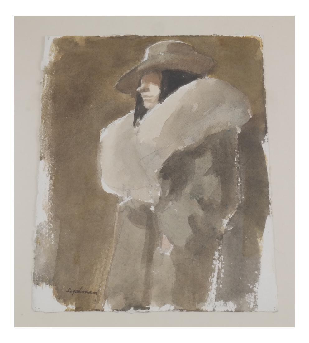Richard Segelman 'Woman in a Coat' Watercolor