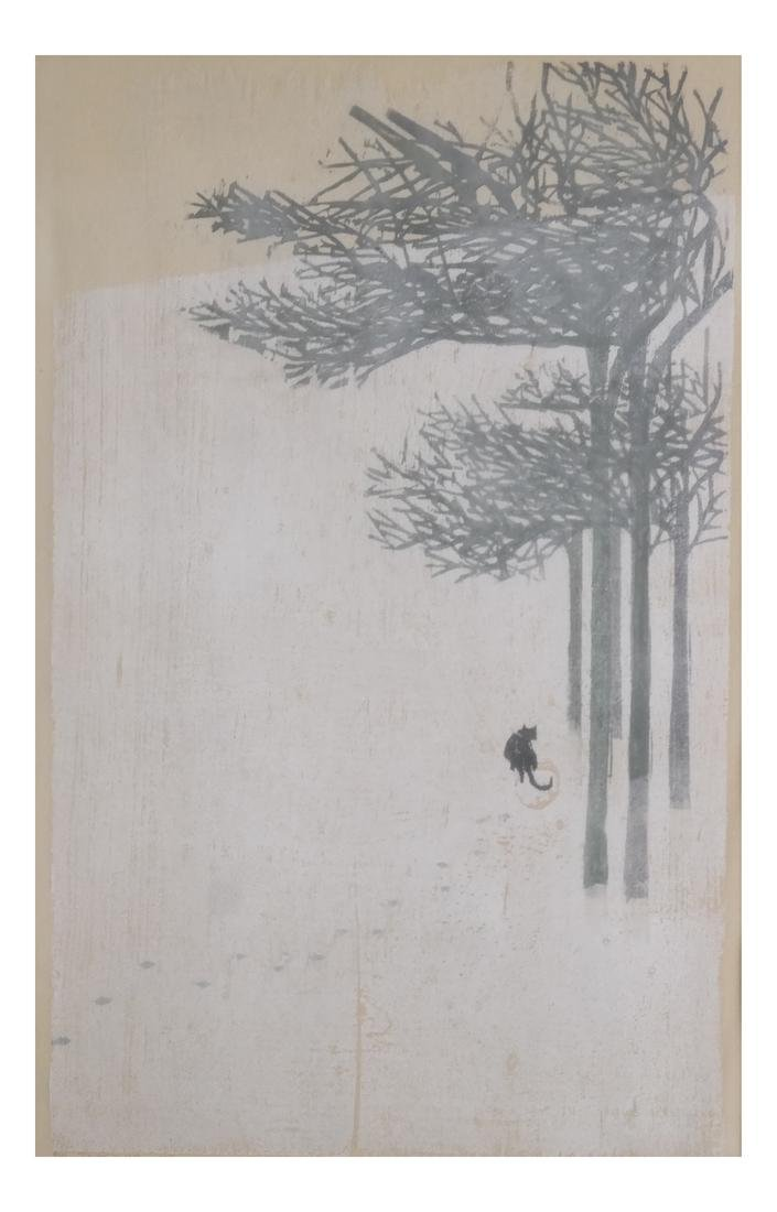 Japanese Print with a Cat