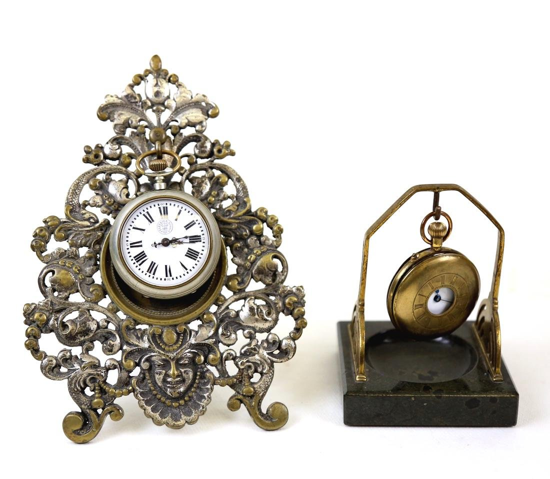Two Vintage Pocket Watches And Stands
