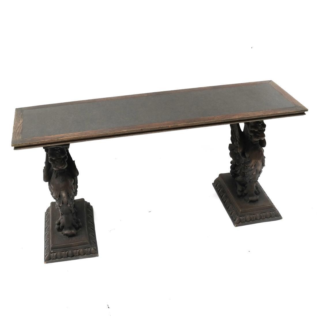 Three-Section Oak Griffon Console Table