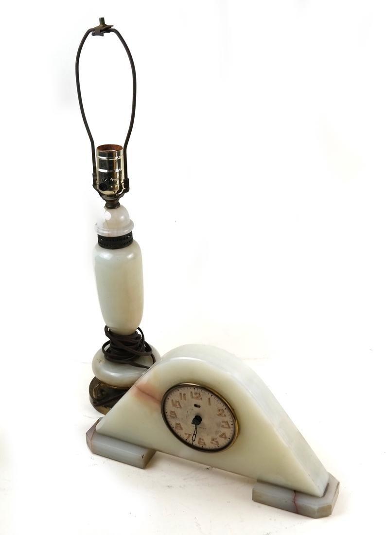 Onyx Clock and an Onyx Lamp