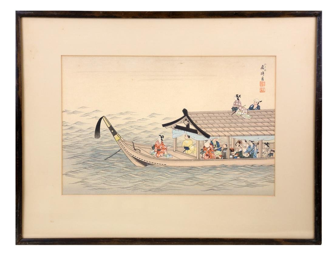 Chinese People in a Boat, Watercolor