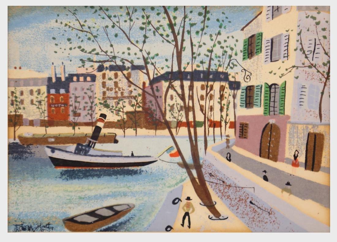 M. Hentz, Framed Canal Scene, Gouache