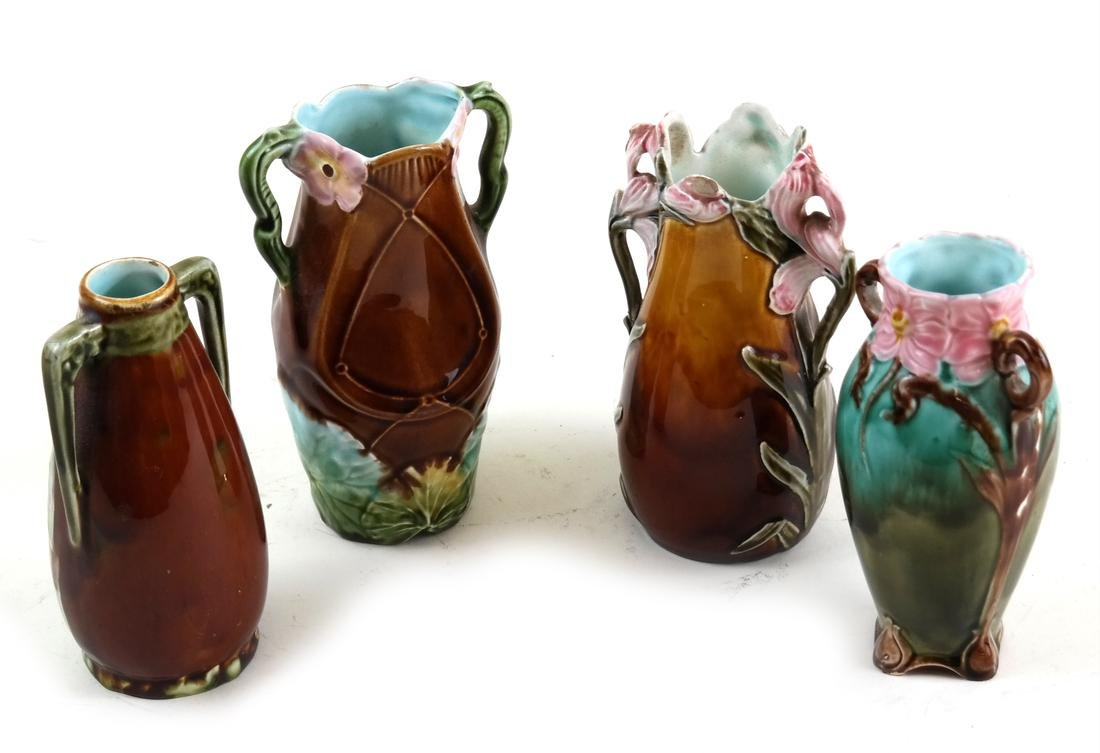 Four Majolica Various Vases