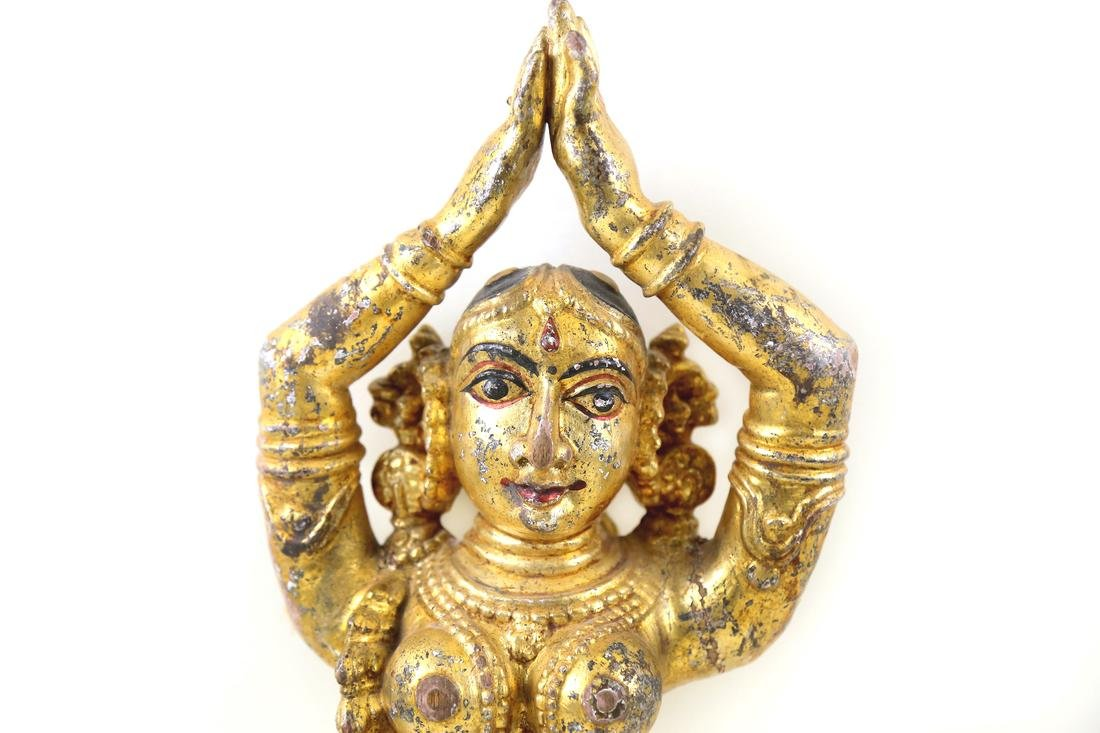 Hindi Gilt Dancing Female Deity Figure