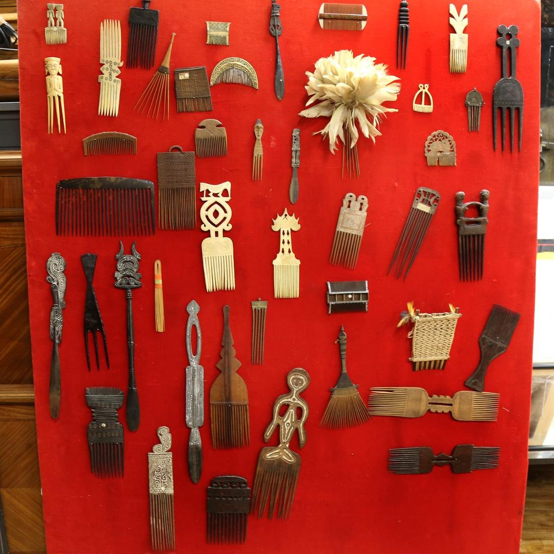 Collection of 46 African Combs and Other Artifacts
