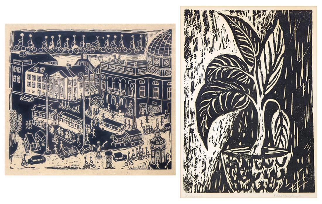 Two Works, Woodblock and Print
