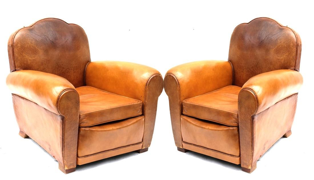 Pair French Art Deco Style Brown Leather Club Chairs