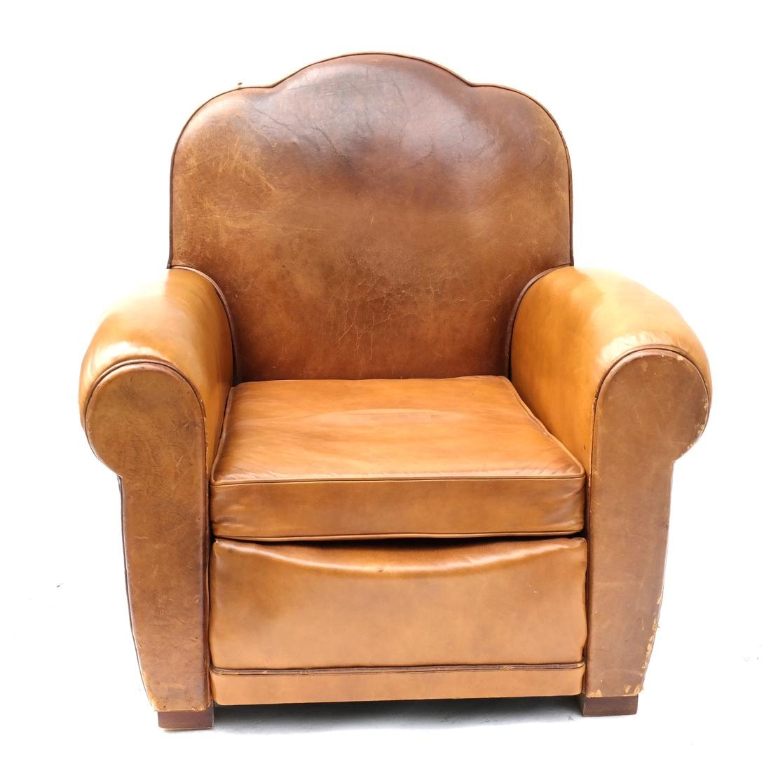 French Art Deco Style Brown Leather Club Chair