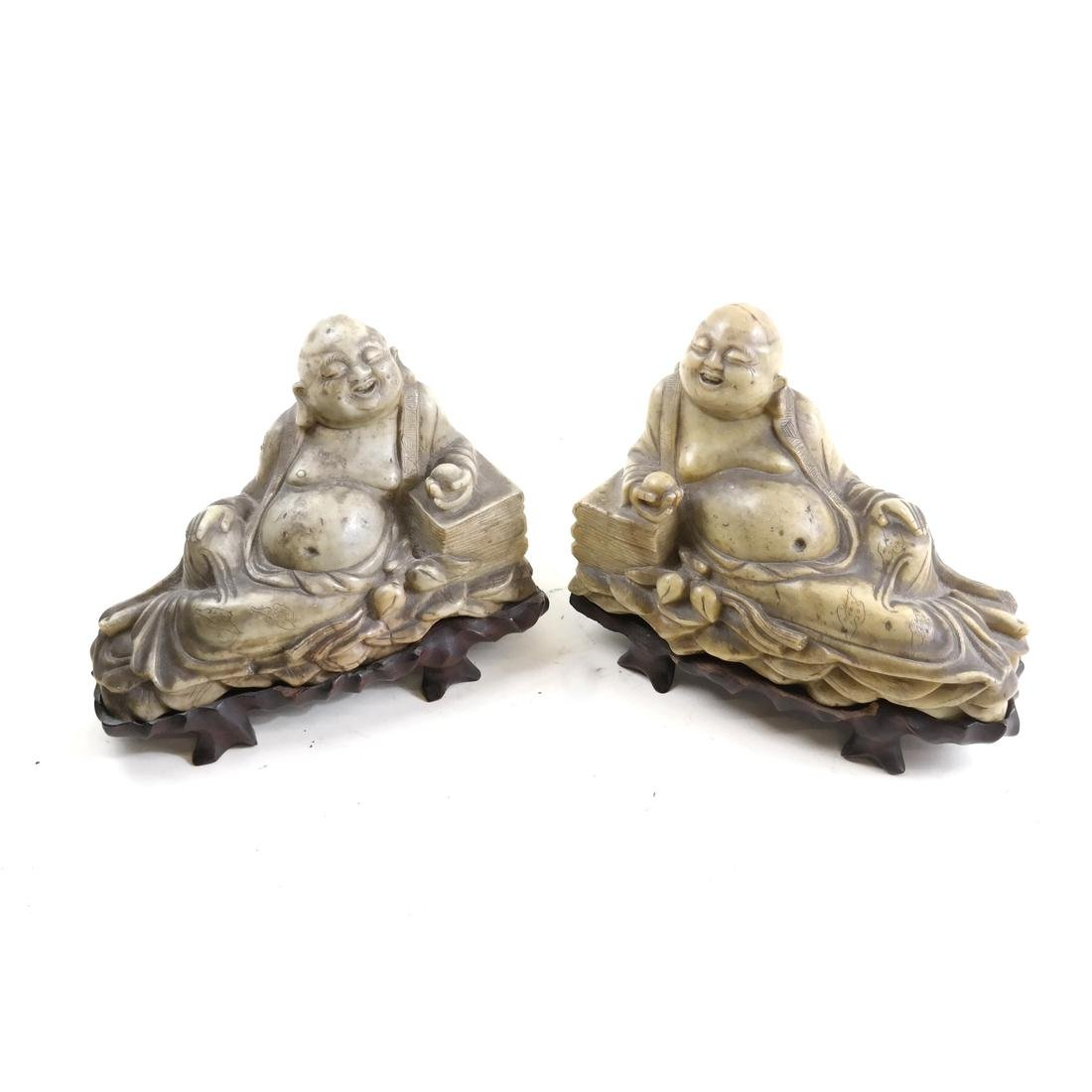 Pair Chinese Carved Soapstone Figural Bookends