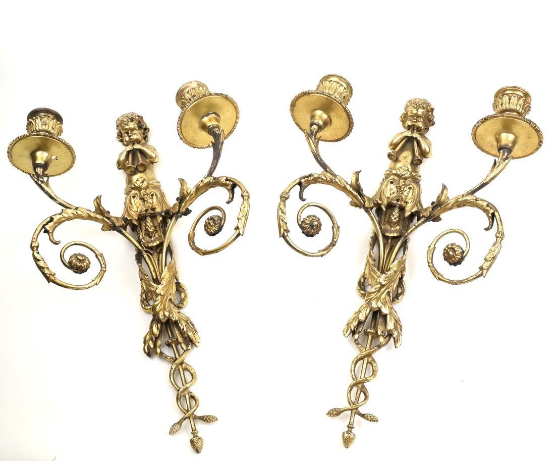 Pair of Cherub Figural 2-Light Sconces
