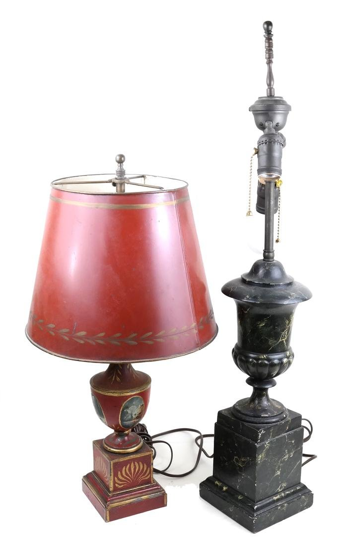 Tole and Faux Marble Urn Lamps
