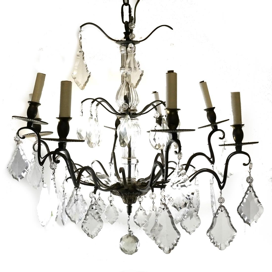 8-Light Brass and Glass Chandelier