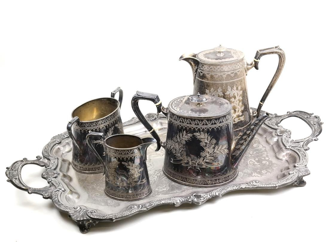 Victorian Silver Plate Coffee Set with Tray