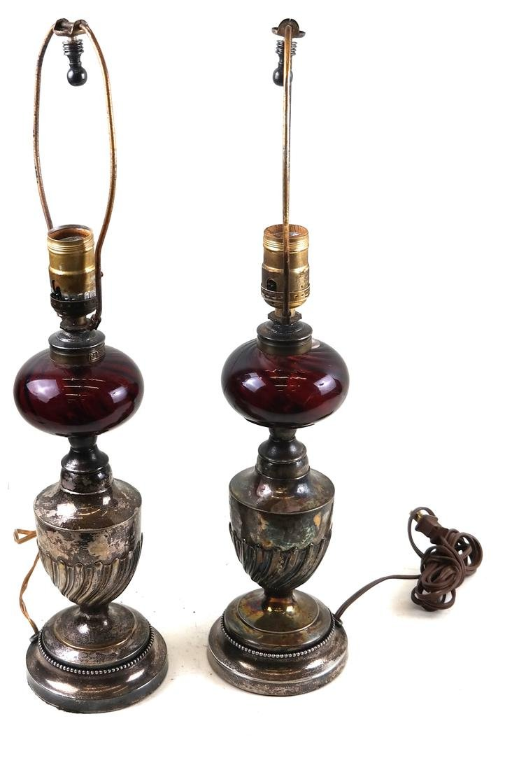 Pair of Silver Plate and Ruby Glass Lamps