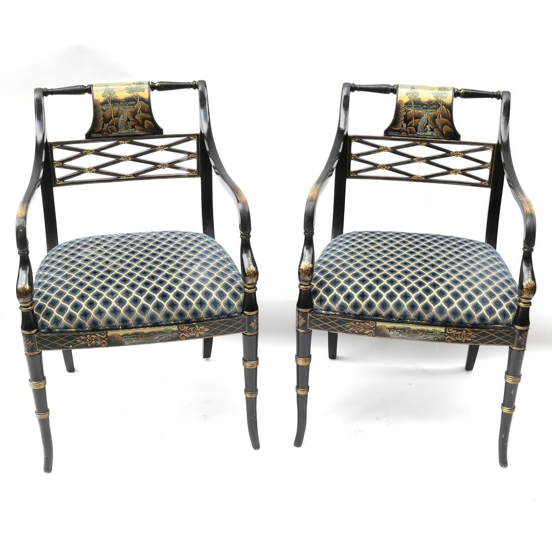 Pair Regency-Style Ebonized Chairs