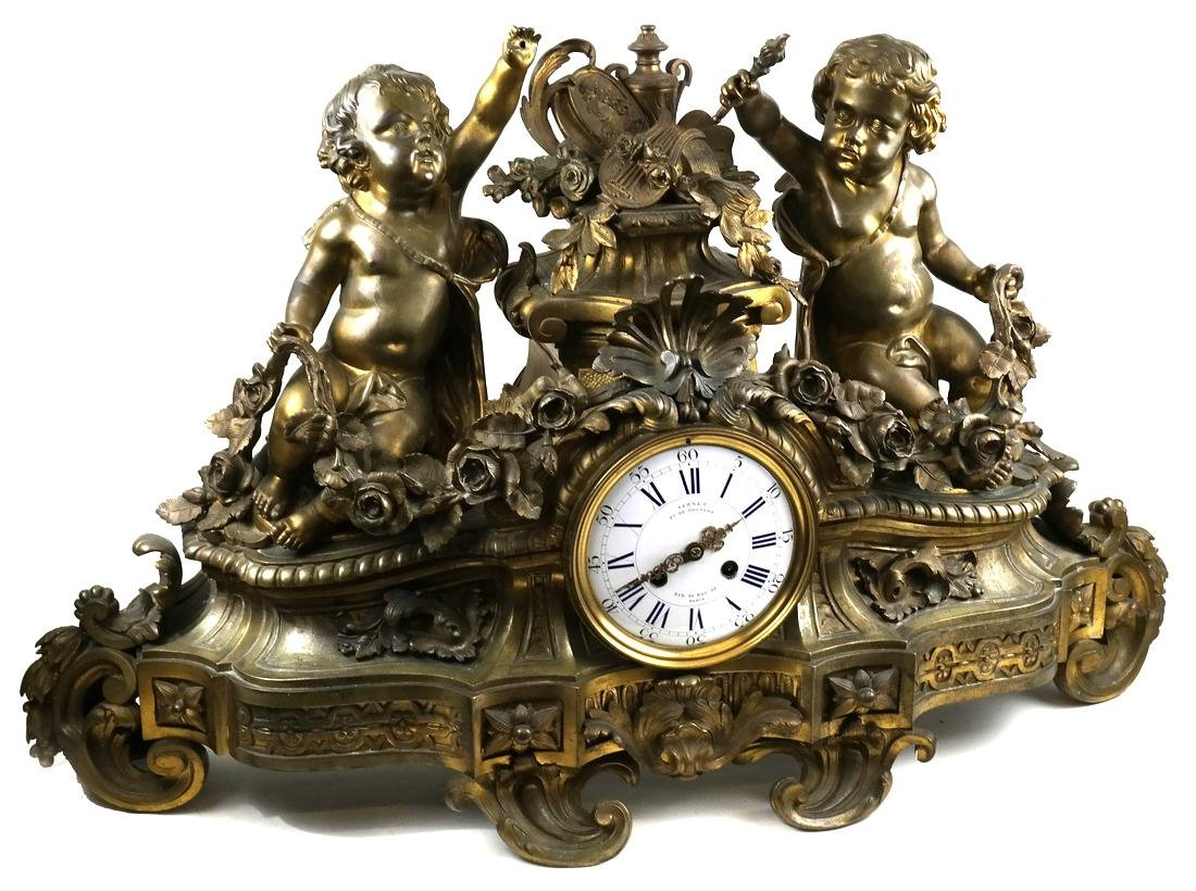19th C. Vernet French Cherub Mantle Clock