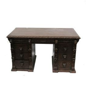 Renaissance Revival-style Ornately Carved Desk