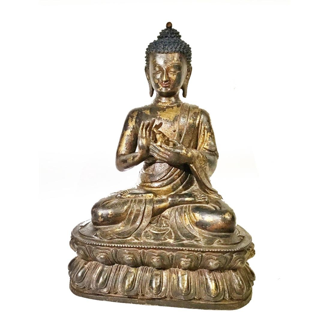 Early Chinese/Tibetan Large Gilt Bronze Buddha Statue