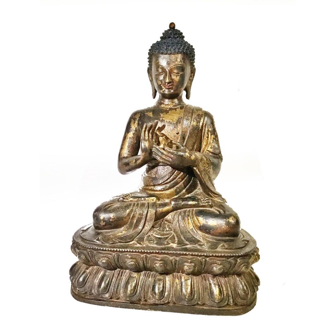 Early Chinese/Tibetan Large Gilt Bronze Buddha Statue