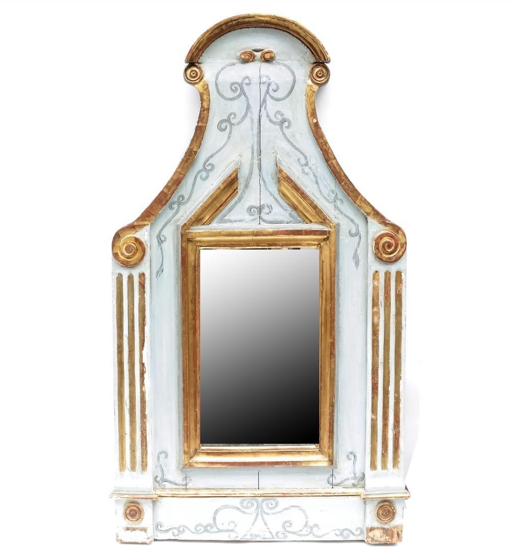 Venetian-Style Blue and Gilt Mirror