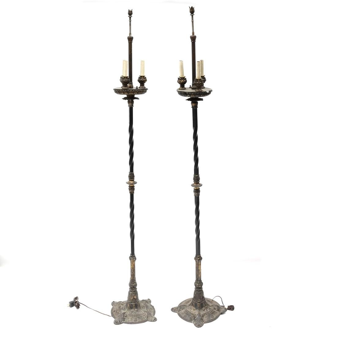 Pair of Gothic-Style Iron Floor Lamps