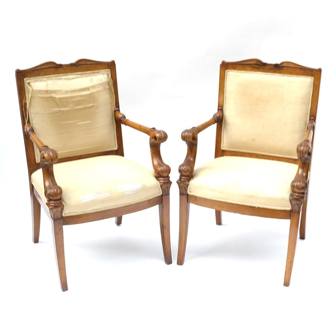 Pair of Regency-Style Dolphin-Form Chairs